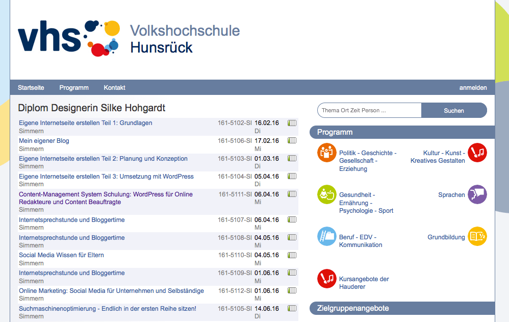 VHS Kurse 1 HJ 2016 Silke Hohgardt • Webdesign Simmern
