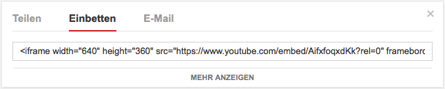 Youtube Code einbetten