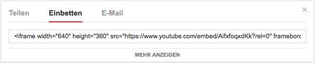 Youtube Code einbetten