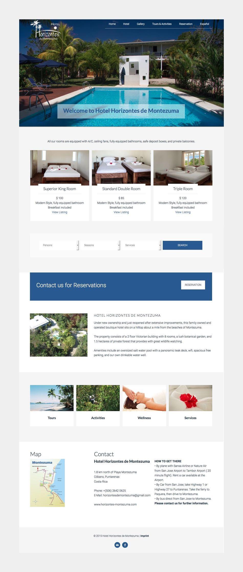 Hotel Horizontes de Montezuma - Theme WordPress Genesis